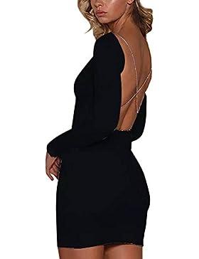 Cinnamou Vestido sin mangas con espalda descubierta para mujer Ladie Vestido sin mangas con fiesta para fiesta