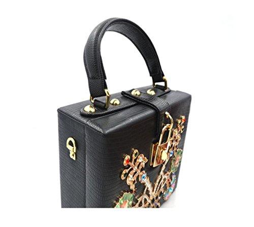 GSHGA Womens Beutel Art Und Weise Diamant-Kastengepäck-Abendessenbeutelhandtaschen-Schulterbeutel,Black (Laptop-tasche Von Gucci)