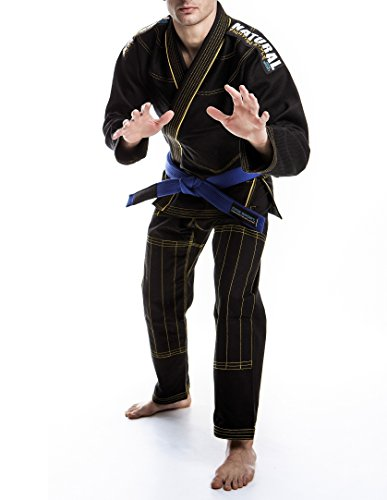 Kimono bjj brazilian jiu jitsu gi in 100% cotton 450 gr rip stop natural fighting style top italian quality (a2, nero)