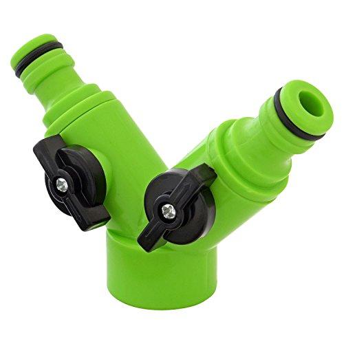 Adaptateur de robinet Parkland à double voies avec valves individuelles et de marche/arrêt