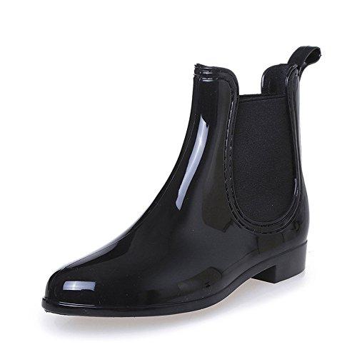 COFACE Damen Fashionable Regenstiefel Kurzschaft Stiefeletten Bequem Gummistiefel Reitstiefelette Rain Boot in 3 Farben für Frühling/Sommer,Black-40