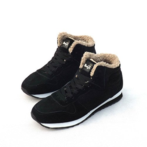 Men's Zapatillas Keep Warm Plush Outdoor Ankle Casual Shoes Black