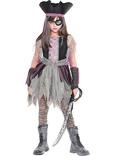 Geisterpiratin Kostüm für Mädchen Kinderkostüm Piratin Halloween Kinder Kleid, Kindergröße:158 - 12 bis 14 (Kind Pirat Geisterschiff Kostüme)