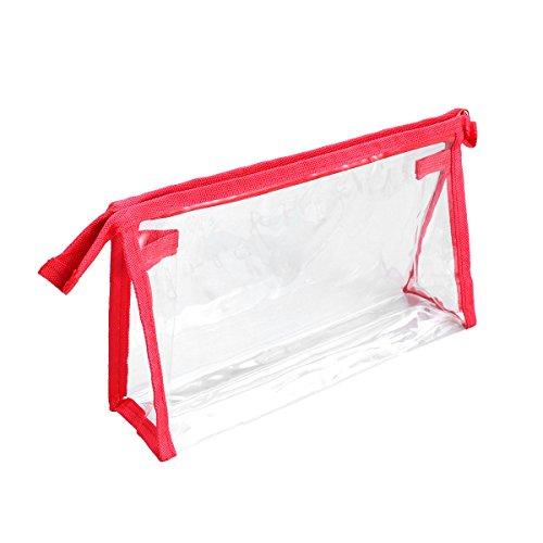 OUNONA Transparent Culture Sacs Culture poches Trousse avec fermeture éclair étanche pour avion documents de voyage (Rouge)