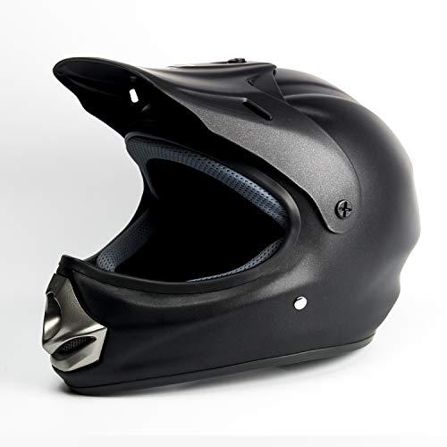 Saferide | Helm Motorrad Schwarz Matt XS 53-54 cm Quad Roller Cross Kinder ab 3 Jahre Enduro Regenschutz Sturzhelm Motorradhelm Jugendliche Kleinkind Moped Mofa