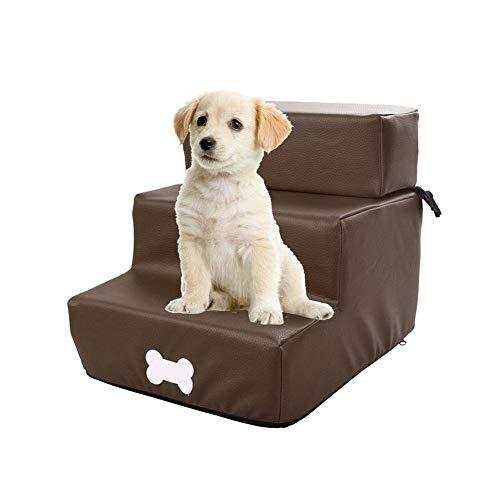 Gereton Easy Step Perro Y Gato 3 Pasos De Escalera Mascota De Alta Resiliencia Cuero Funda Extraíble Lavable Portátil Alfombra