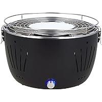 Barbacoa de carbón vegetal Broszio negra, libre de humos, con ventilación activa y bolsa