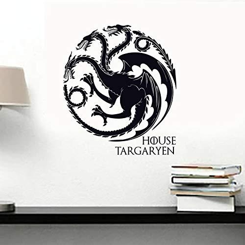 zzlfn3lv Juego de Tronos Casa Targaryen Tatuaje de Pared de Vinilo Arte conseguido Sigils Dragones símbolo Etiqueta de la Pared para Las Paredes Coches Portátiles 56 * 48cm