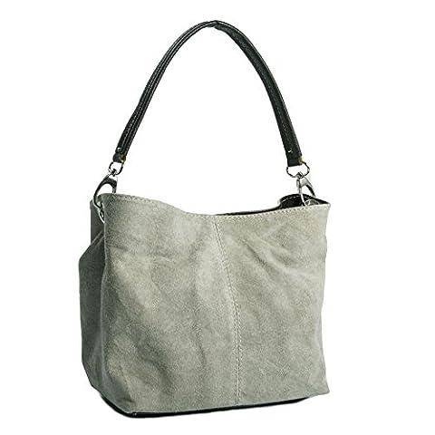 Big Handbag Shop Womens Mini Real Italian Suede Leather Single Strap Hobo Slouch Bag (Taupish Grey)