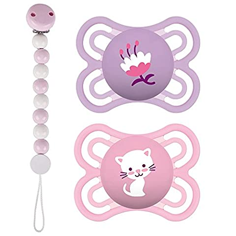 MAM Perfect Silikon Schnuller 0-6 Girl Mix // 2er Set // inkl. 2 Sterilisiertrasportboxen // HEIMESS Schnullerkette Holzkette Perlen rosa &