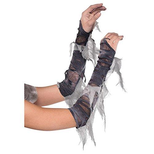 Graue Zombie Armstulpen für Damen Kostüm-Zubehör Untote Braut Halloween Fetzen Stulpen