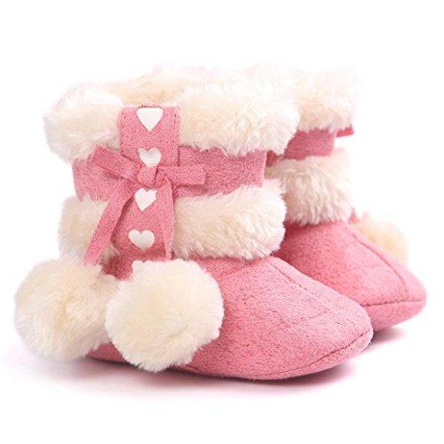 Longra Kleinkind Baby Mädchen Warm Halten Schneestiefel Weiche Sohlen Krabbelschuhe Lauflernschuhe Kleinkind-Stiefel Winterstiefel Watermelon Red