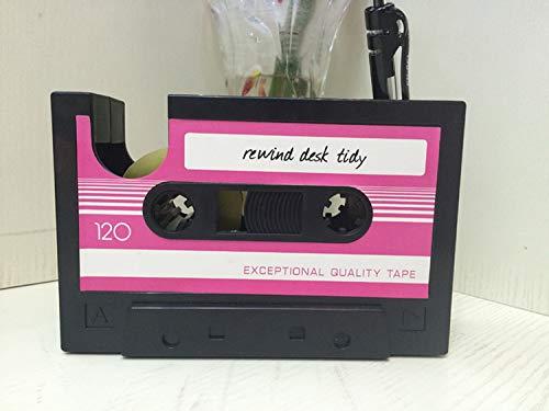 Hi_Smile Retro Tape Stifthalter Schreibtisch Ordentlich Organizer Klebebandspender Desktop Aufbewahrungsbox_Pink