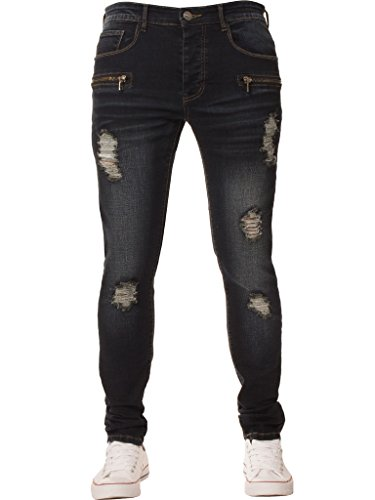 Ze ENZO Enzo Mens Super Skinny Stretch Slim Fit Ripped Denim Jeans All Waist Sizes Available in 2 Colours