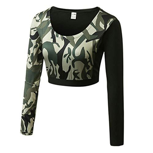 Geilisungren Sport Oberteile für Damen Langarm Camouflage Druck Yoga Tops Bauchfrei Laufoberteile Workout Fitness Crop Top Slim Fit Eng T-Shirt