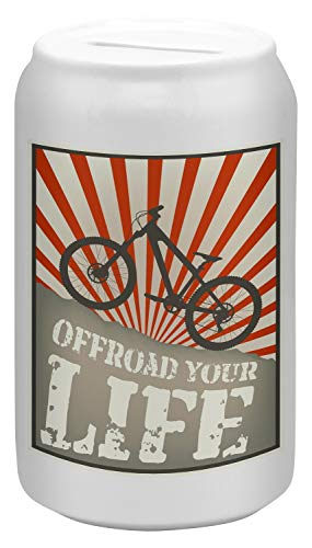 LEotiE SINCE 2004 Spardose Sparbüchse Geld-Dose Wiederverschließbar Farbe Weiß Nostalgie Fahrrad Offroad Keramik Bedruckt