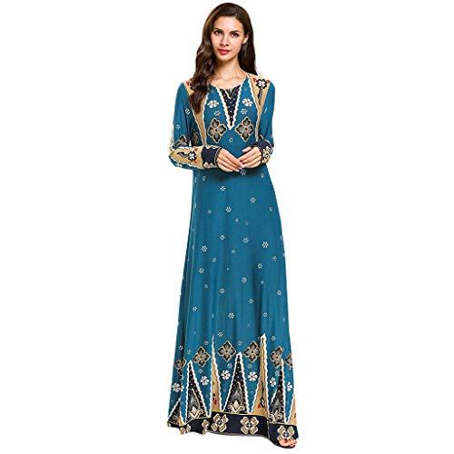TEBAISE Muslim Abaya Dubai Kleider Damen muslimische Stickerei Maxikleid islamischen Kleid Islamische Abaya Dubai Kleid Kaftan Kleidung Rayon Gewand Jalabiya für Frauen Ramadan 2019