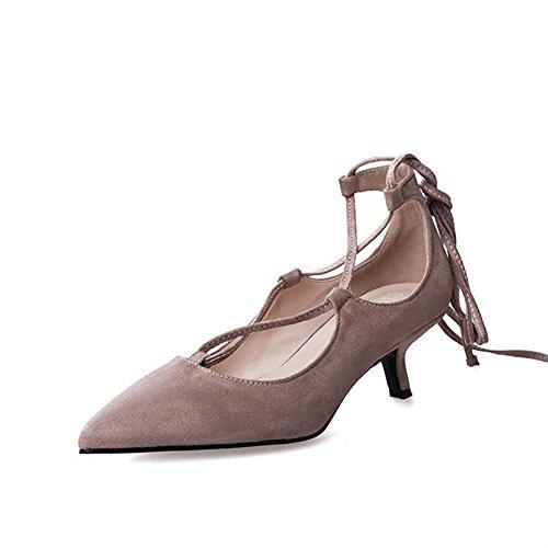 Scarpe donna tacchi alti in punta di pelle trasversale cinghie scamosciate pompe a punta chiusa festa di nozze partito lavoro nightclub casual sandali . apricot . 36