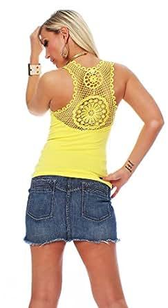 10470 Fashion4Young Damen Tank-Top in Ripp-Optik Spitze Häkelspitze-Top Shirt verfügbar 9 Far 2 Größen (L/XL 38/40, Gelb)