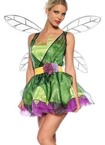 BININBOX® Feen-Kostüm Grün Elfen Fairy Dress Grün Karneval Fasching Halloween Cosplay Verkleidung Damenkostüm Theateraufführung Princess Prinzessin Cos (Flügel) (Halloween-kostüme Princess)