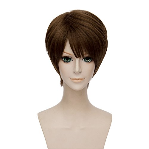 LanTing Cosplay Perücke 30cm Perücke Corta Brown Wigs Heat Resistant Synthetic Cosplay Full Wig for Men Party Fashion