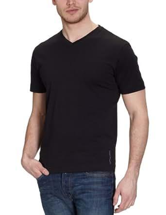 TOM TAILOR Herren T-Shirt 10225110910/2pack V-neck T-Shirt 1/2, Gr. 44/46 (S), Schwarz (2999 black)