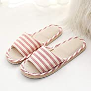 New High Quality Summer Linen Slippers Striped Eva Indoor Men And Women Home Home Summer Sandals And Slippers