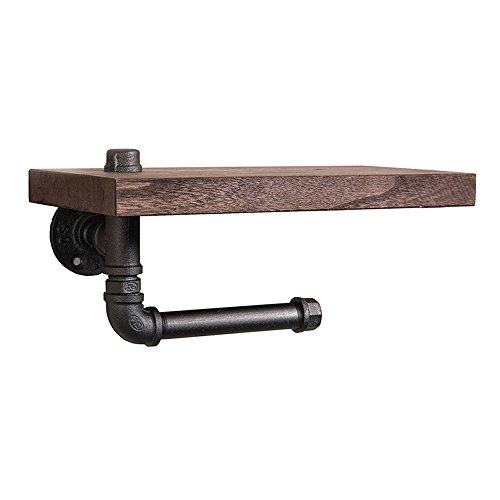 Shelfhx Baño creativo Toallero de madera Industrial Tubería de agua Steampunk Metal Hierro forjado Soporte de papel higiénico Dispensador Soporte de pared creativo Soporte de rollo Estante Accesorios de baño Teléfono móvil Titular