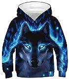 Ocean Plus Jungen Kapuzenpullover Bunt Teens Hoodie Kinder Langarm Pulli mit Kapuzen Sweatshirt Pullover (M (Körpergröße: 135-140cm), Blauäugiger Schwarzer Wolf)