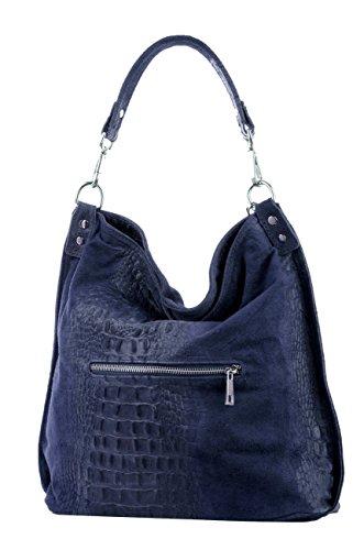 Shopper borsa, borsa a tracolla, Mod. 2107 pelle, croco-look Italy Blu scuro