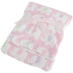 Mantita/arrullo con diseño de elefantes para bebé (75cm x 100cm/Rosa)