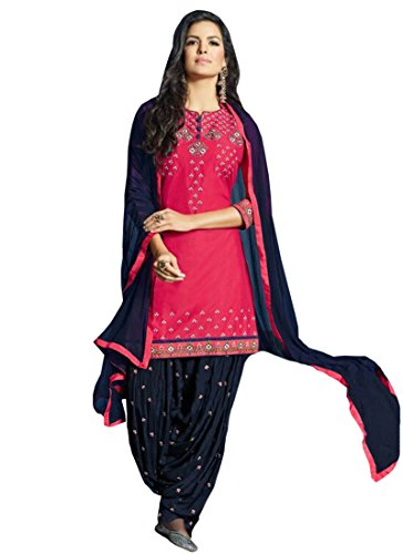 Shoponbit Pink and Navy Blue colour cotton embroidered party wear semi stitched patiala suit