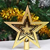 PartyHut 9.5 Centimeters Christmas Tree Top Star Golden Christmas Star Tree Tree Topper Table Christmas Decoration New Lovely Shiny Christmas Decoration - Pack Of 1(Golden Colour)