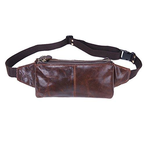 AF-WAN Bolso de cuero de la cintura Bolsillo / bolso de la carpeta / bolso del pecho / bolso de la energía del ocio de los deportes móvil / bolso del teléfono móvil para los hombres y las mujeres corrientes del deporte al aire libre marrón