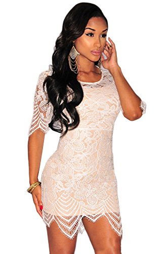 Blansdi Femmes Col Rond Manches Courtes Mince Bodycon Mini Robe Dentelle Perspective Clubwear Blanc