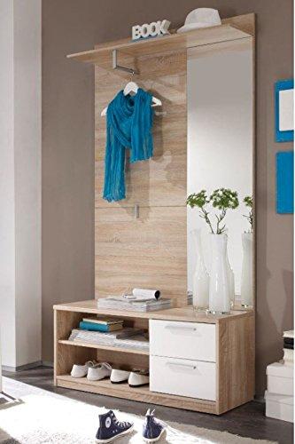 Garderobe ALADIN Eiche Sonoma Weiß Dielenmöbel Kompaktgarderobe