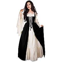 632de40fafb Fanessy Femme Déguisement Robe de Princesse Médiéval Renaissance Rétro Robe  de Moyen Äge Col Carré Grande
