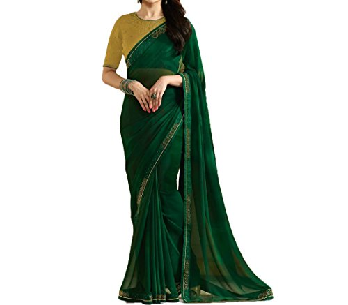 TAGLINE Georgette Saree With Blouse Piece (TAG51209_Green_Free Size)