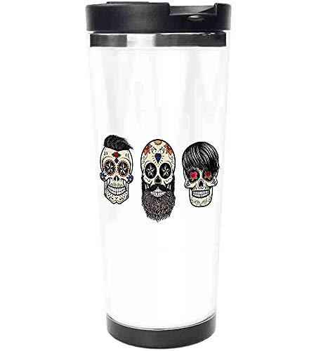 Travel Mug-Schädel Menschenköpfe mit fröhlichen Gesichtern Blumen-und geometrisch geformte Augen Aufdruck Edelstahl Kaffeetasse & Tasse-Thermotasse mit spritzwassergeschütztem Schiebedeckel-14 Unzen
