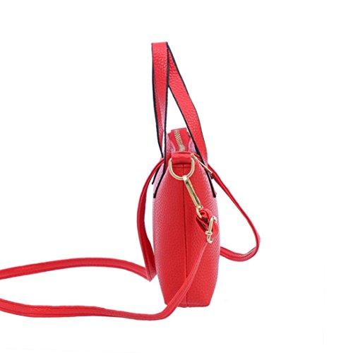 Xjp Fashion Women's Handbag Leather Shoulder Bag Solid Color Tote Bag Red