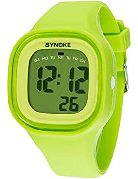 Amstt Damen Mädchen Student LED Armbanduhr Leuchtende Nacht Wasserdicht Silikon Digital Uhr