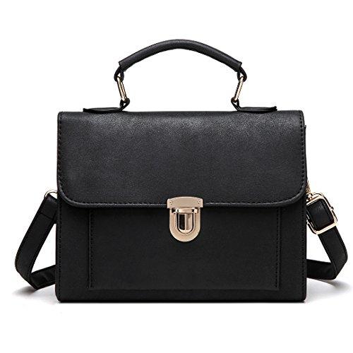 Miss Lulu Handtasche Damen Henkeltasche Klein Schultertasche Tote Bag PU-Leder 2018 Design (E1803-Grau) E1804-Schwarz