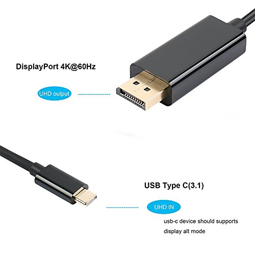 RUNGAO Type C USB 31 to monitor Port DP 4K HDTV Converter Gold plated Adapter Cable for Macbook PC Cables