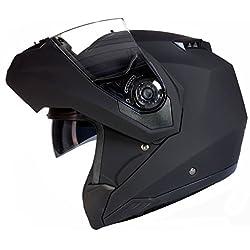 Qtech Casco MODULARE per Moto con Integrale Doppia Visiera - Nero Opaco - L (59-60cm)