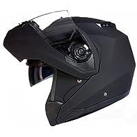 Qtech Casco MODULARE per Moto con Integrale Doppia Visiera - Nero opaco - XL (61-62cm)