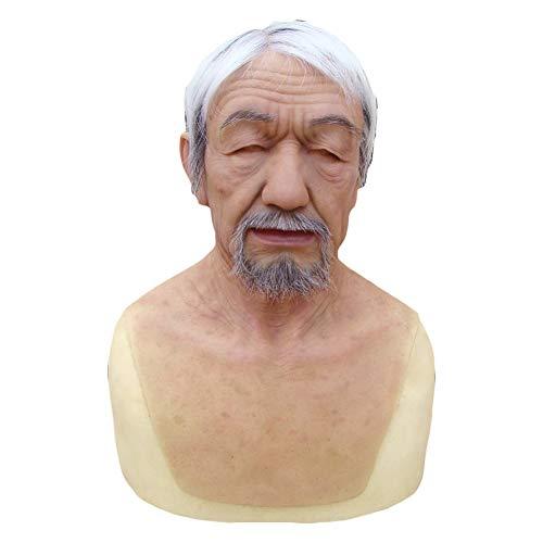 PINGJIA Old Man Mask Realistische Full Head Und Hals Halloween Kostüm Kostüm Gummi Für Cosplay Maskerade,withhair&Beard (Asiatisch Bart Kostüm)