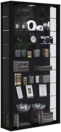 """VCM Wandvitrine Sammelvitrine Glasvitrine Wand Vitrine Regal Schrank Glas ohne LED-Beleuchtung Schwarz """"Vitrosa Maxi"""""""