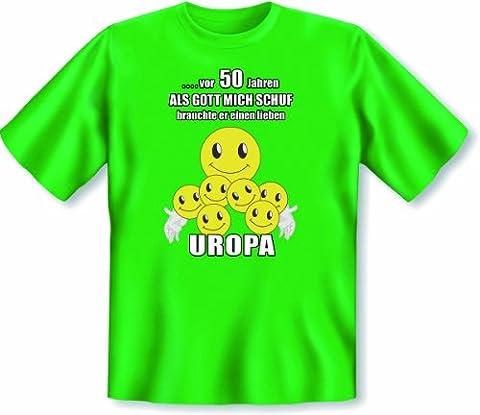Geschenk zum 50. Geburtstag T Shirt Vor 50 Jahren als Gott mich schuf brauchte er einen lieben Uropa Größe XXL Farbe hellgrün