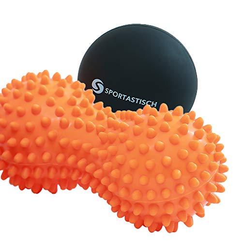 Sportastisch Top¹ Faszienball Set Well Being mit Igel-Doppelball und Lacrosseball | Massagebälle (mittel-hart) für Selbstmassagen für Füße & Rücken | GRATIS E-Book und bis zu 3 Jahre Garantie²