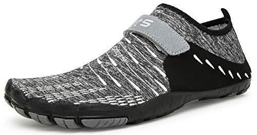 Herren Damen Outdoor Fitnessschuhe Barfußschuhe Trekking Schuhe Badeschuhe Schnell Trocknend Rutschfest(Grau,42 EU)